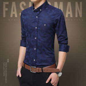 c8295819a985 Fashion Men solid Slim Fit Shirt Long Sleeve Dress Shirts Casual ...