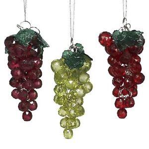 Details About Set 3 Kurt Adler Collectible Wine Grape Vines Fruit Ornament Christmas Decor
