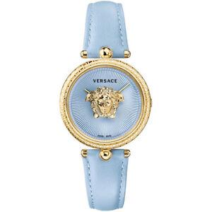 Versace-VECQ009-18-Palazzo-Empire-gold-blau-Leder-Armband-Uhr-Damen-NEU