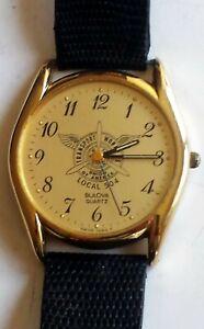 Vintage-Bulova-Men-039-s-Quartz-Watch-Transport-Workers-Union-Local-504-Dial