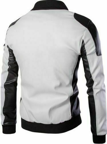 Mens Leather Bomber Slim Fit White and Black Real Soft Perforated Leather Jacket