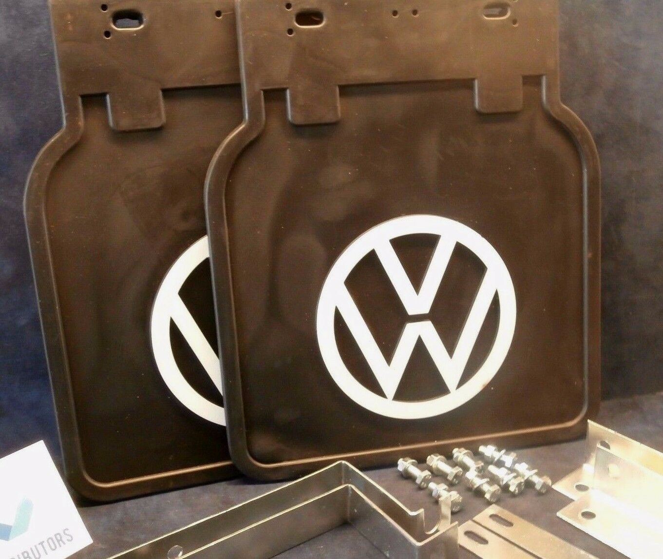 PAIR 1950-ON FITS ALL BUGS 111821805W VW BUG MUD FLAPS WHITE WITH  BRACKETS