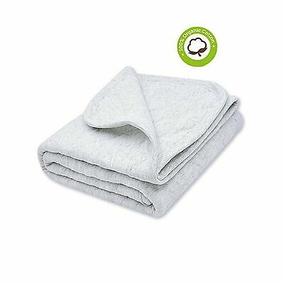 Breathable and Super Soft Quilted Toddler Blanket for Boys and Girls Hypoallergenic Thermal Crib Blanket Thick and Light Weight 39x39 Inches Large Gray Organic Cotton Baby Blanket Warm