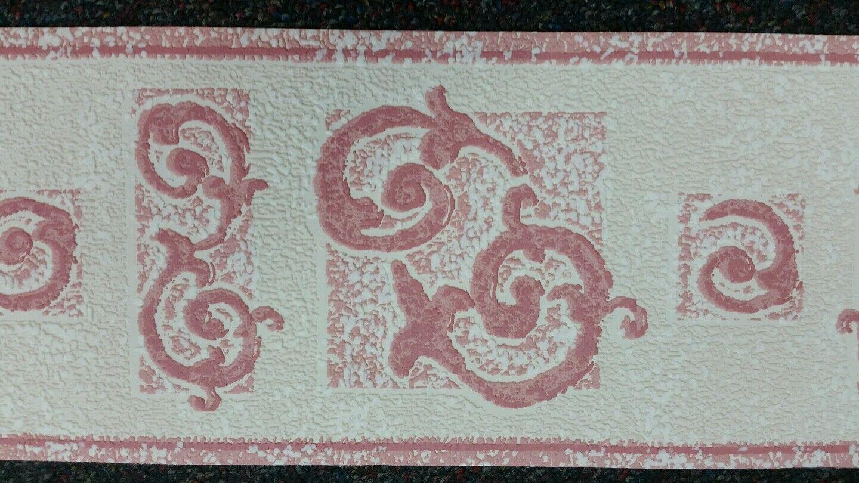 Coloroll luxury textured vinyl wallpaper border green blue pink /& terracotta