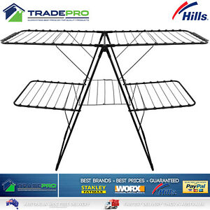 Hills Clothes Line Airer Stainless Steel Black Two Tier Portable Drying Rack 31m