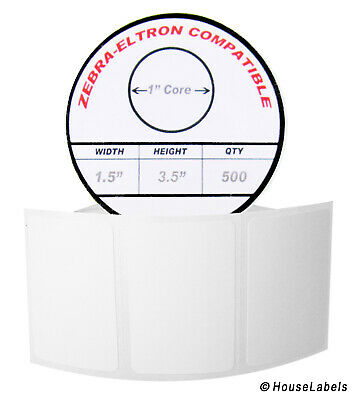 """1/"""" x 3/"""" Direct Thermal Zebra Eltron Labels 16 Rolls  520 Labels of 1x3"""