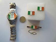 Round Rugby Football Ireland flag Wrist Watch Tie Pin and Cufflinks set gift #1