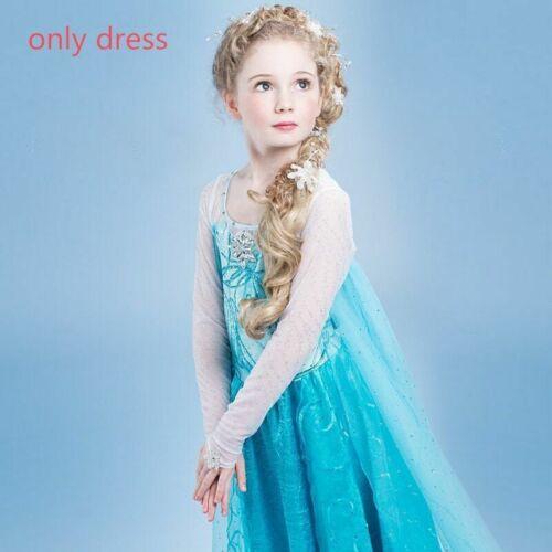 Baby Girl Princess Elsa Dress Clothing Wear Cosplay Elza Costume Halloween Crown