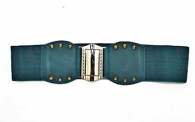 BRAND NEW BLUE STRETCH BELT WITH A GOLD BUCKLE 1 IN WIDE