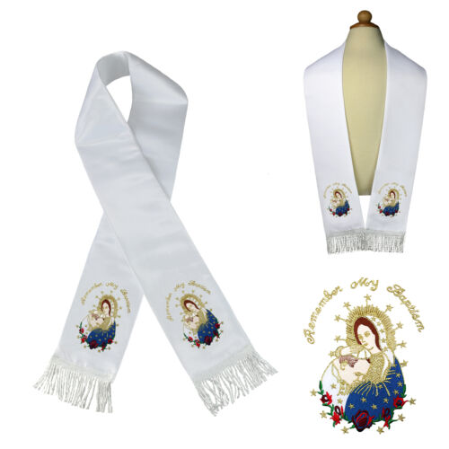 White Satin Stole Communion Baptism Christening Embroidered Virgin Mary /& Pope