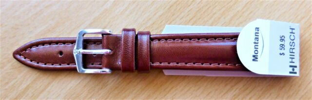 """Hirsch Leather Band Brown 16mm-S/P BUCKLE """"Montana""""-WATER RESISTANT"""