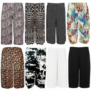 New-Ladies-Plus-Size-Printed-Knee-Length-Palazzo-Wide-Leg-Shorts-Culottes-16-26