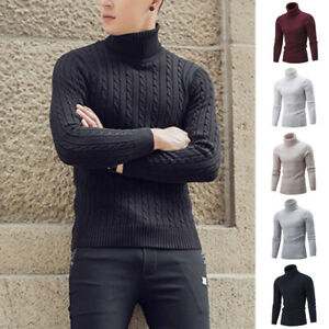Men's Slim Twisted Turtle Neck Sweater Twisted Knitted Pullover Solid Fashion