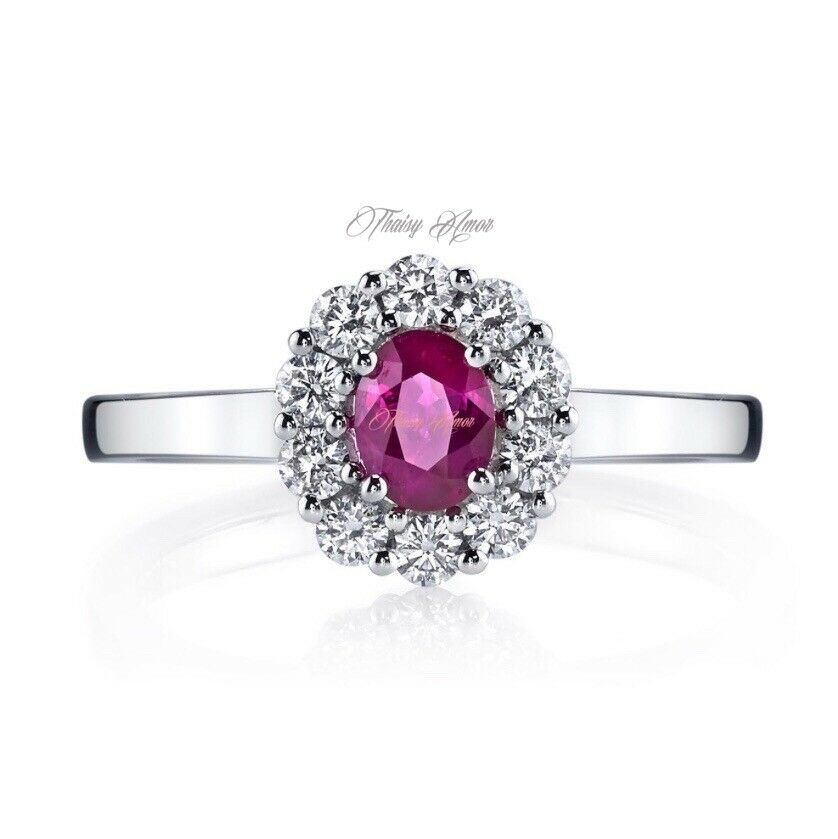 14k Solid White gold  Engagement Ring With Natural Diamonds And Natural Ruby