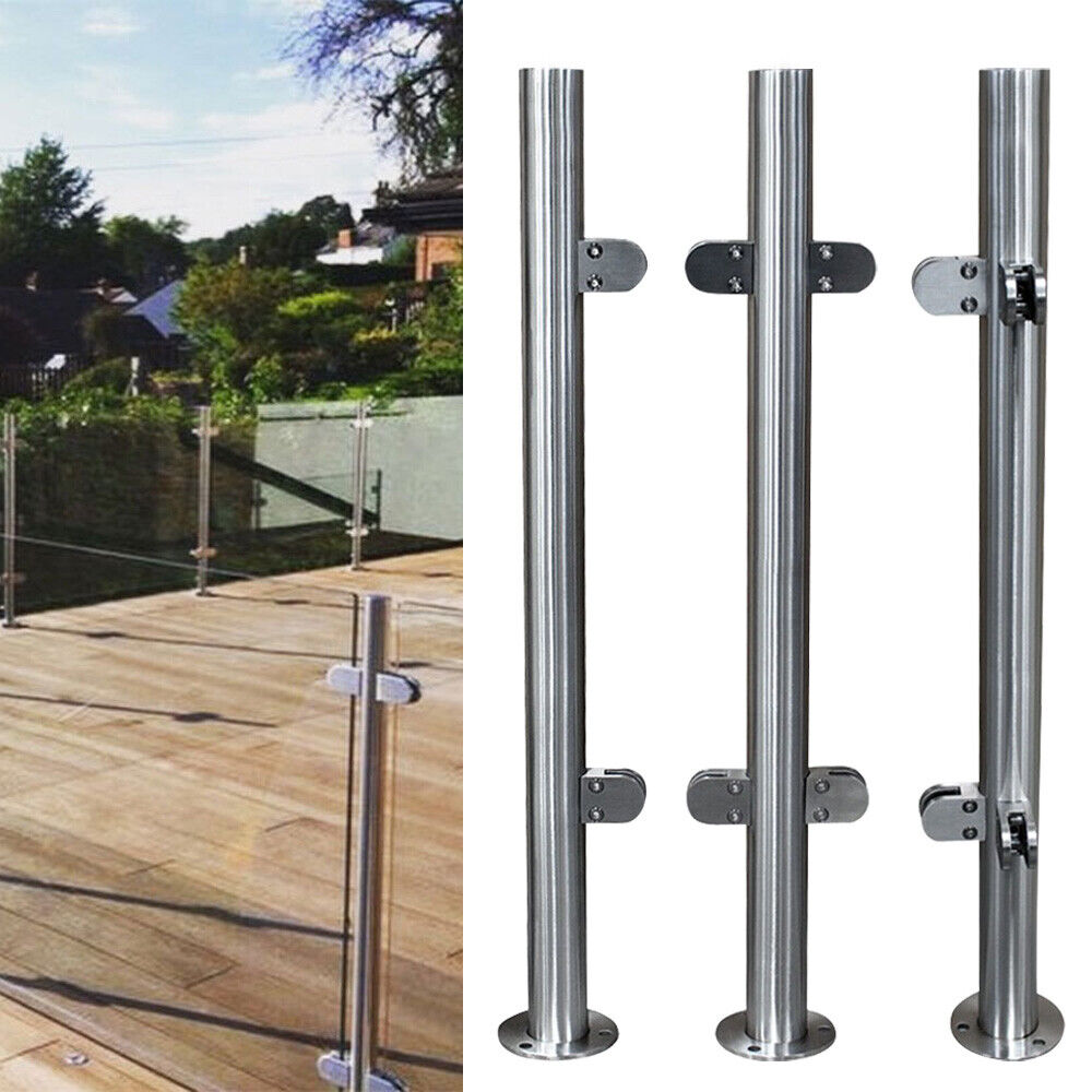 NOPTEG 43 Glass Railing Post 304 Stainless-Steel Glass Clamp Post Glass Panels Deck Railing System Glass Fence Panels Glass Railing Hardware Glass Stair Railing System 43//110cm High