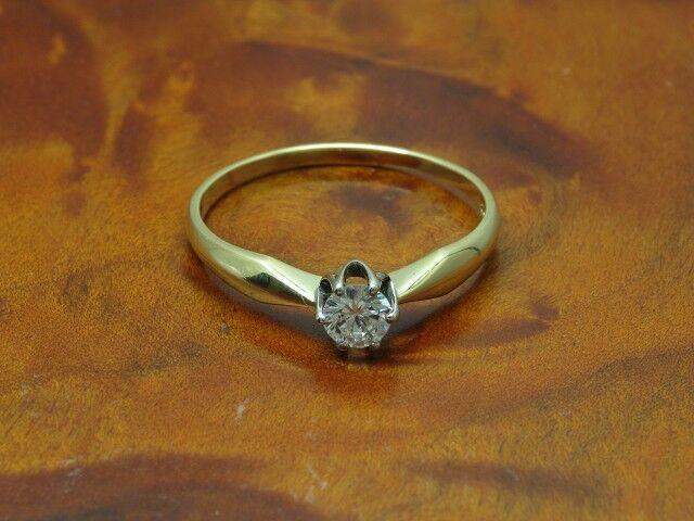 14kt 585 bicolor gold Ring mit 0,28ct Brillant Solitär Besatz   Diamant   RG 59