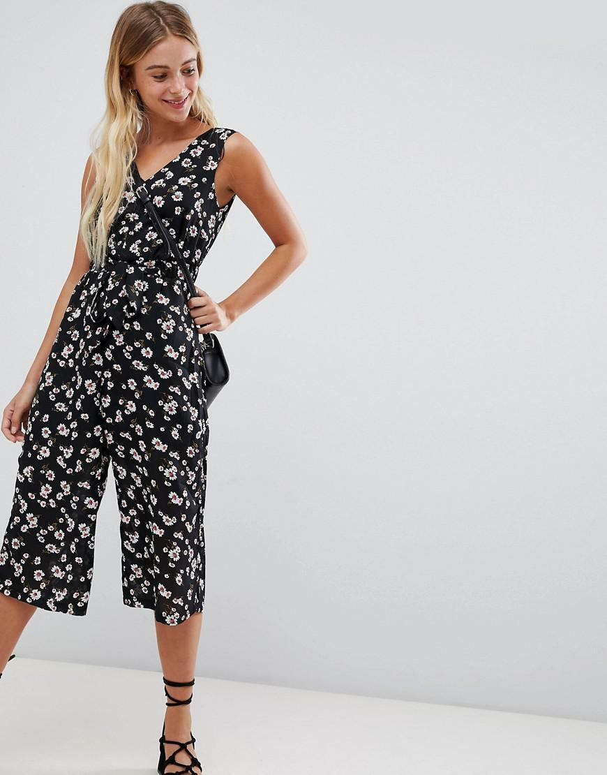 NEW GLAMgoldUS DAISY FLORAL PRINT CROPPED 3 4 LEG JUMPSUIT BOHO PARTY LOOK