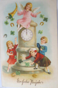 034-New-Year-Angel-Children-Cloverleaf-Coins-Watch-034-1913-Embossed-Postcard