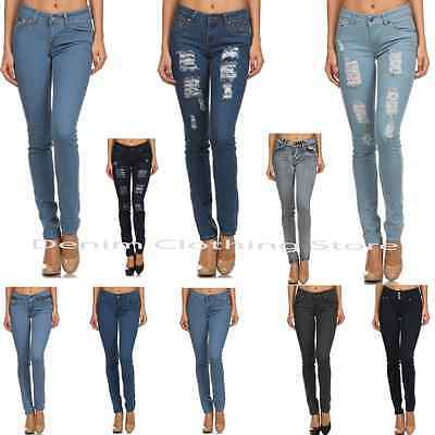 D.Rock Women's Plain Stretch Destroyed Ripped Distressed Slim Skinny Denim Jeans