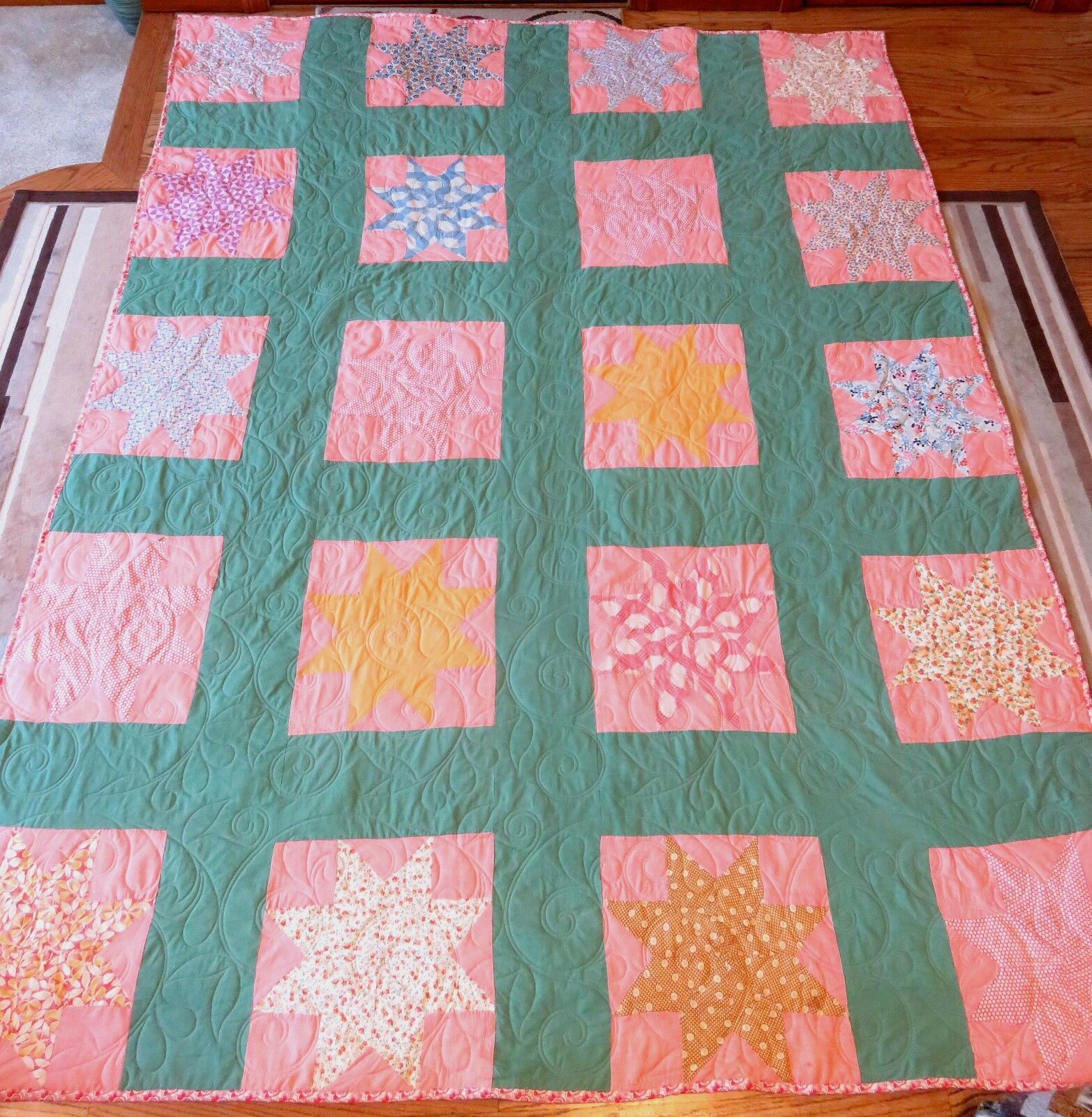 New USA Handmade Full Größe Quilt- Star Patchwork 70  x 92 -From Vintage Top