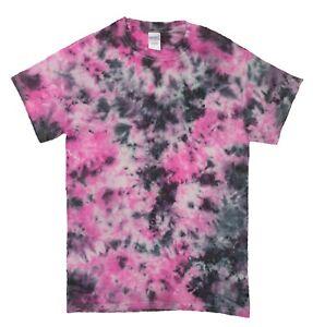 Pink-amp-Black-Rainbow-TIE-DYE-T-SHIRT-Fashion-Tye-Die-Tshirt-Festival-Retro-Tee