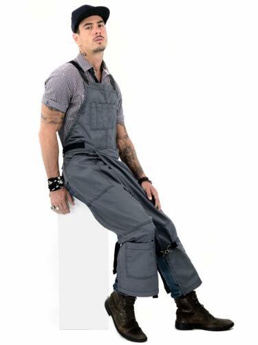 Full Split-Leg Pottery Apron Cross-back with Leather Reinfo Armor Gray Twill