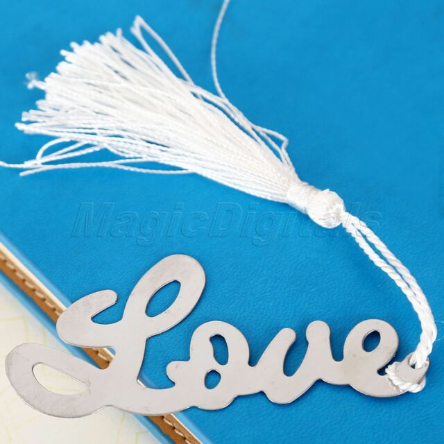 1PC Metal Love Shape Bookmark with Elegant Silk Tassel Silver