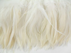 """100+ NATURAL WHITE SADDLE ROOSTER CRAFT HAIR FEATHER 5""""-7""""L"""
