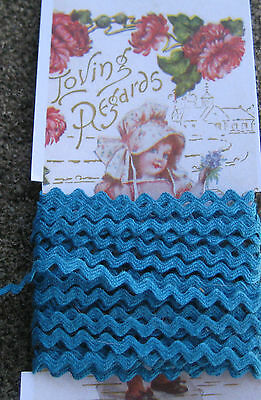 """5 yd ~1/4"""" Vintage Turquoise Cotton Baby Ric Rac Trim~doll ~old stock~ rick rack"""