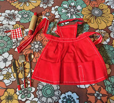 VTG 60s Mattel Pak Barbie Doll What's Cookin? Red Apron Utensils Rolling Pin