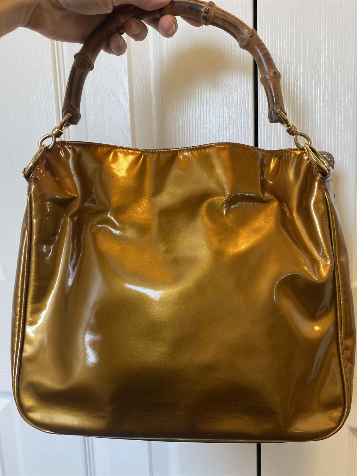 GUCCI COPPER BAMBOO HANDLE BAG VINTAGE DIANA LEAT… - image 4