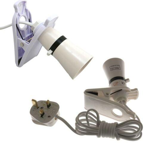 Clip on commuté secteur propulsé spot ampoule support lampe de travail câble 2m ** nouveau **