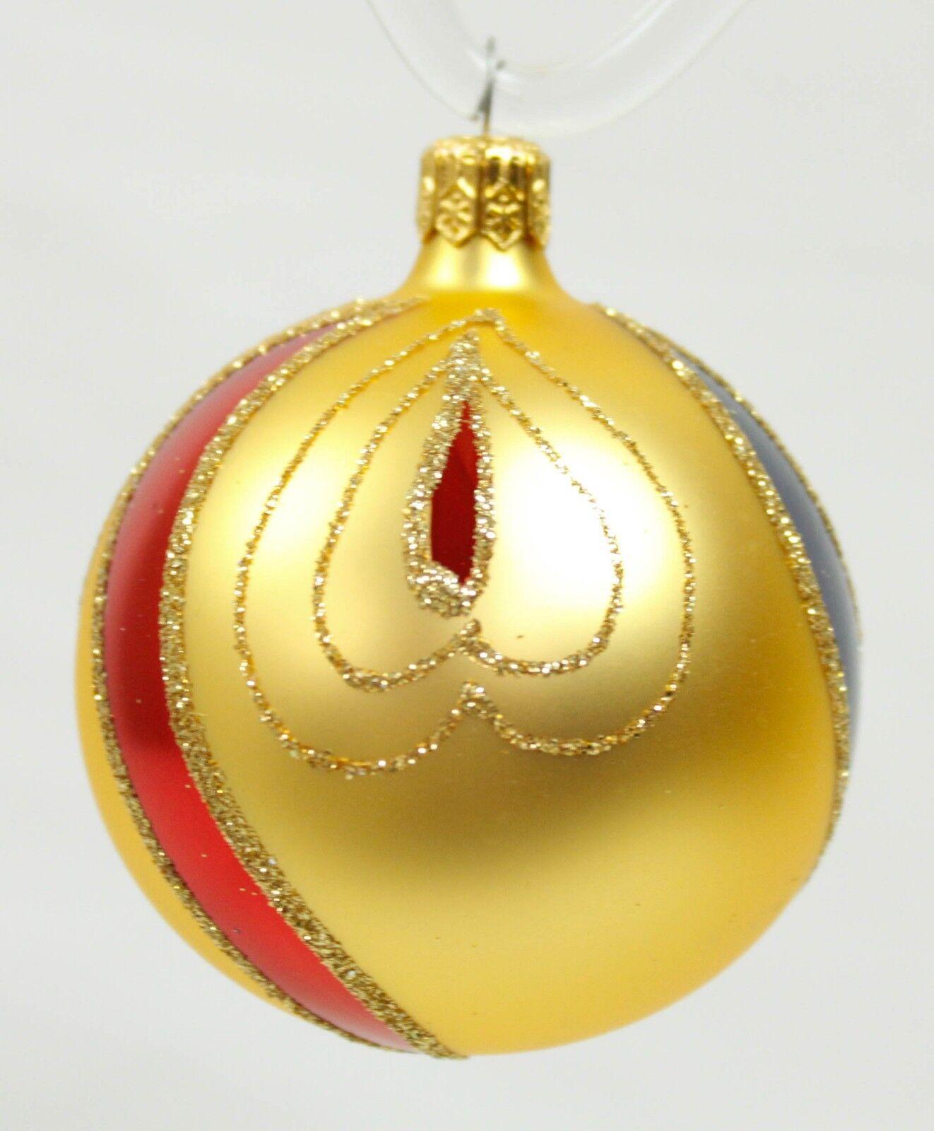 Farbe Gold Ball Vintage Handblown Eastern Europe Europe Europe Glass Christmas Ornament Set 9fbaec