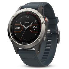 Garmin Fenix 5 Silver w/ Granite  Blue Band GPS/Glonass Sport Watch 010-01688-01