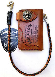 Leather-Indian-Chief-biker-trucker-wallet-motorcycle-Chain-Wallet-Orange-Stitch