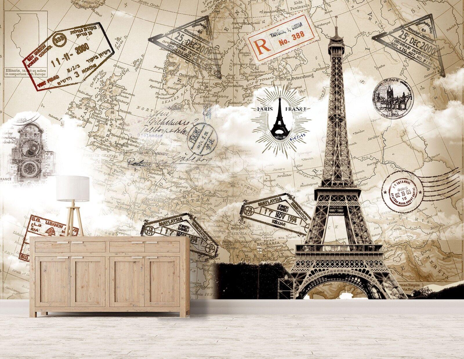 3D Eiffel Tower Map 98 Wallpaper Mural Paper Wall Print Murals UK Lemon