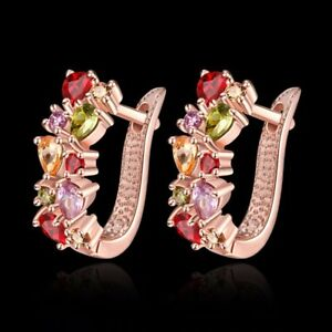 Mode-Multi-Color-Kristall-Ohrringe-Frauen-Strass-Ohrstecker-Ohrringe-Crystal