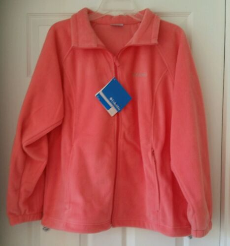 Columbia Womens Plus 1X Fleece $65 Punch Pink//Peach Full Zip Pockets