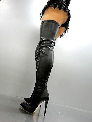 MADE IN ITALY KNEE EXTREME HIGH NEW STIEFEL BOOTS STIVALI LEDER BLACK SCHWARZ 40