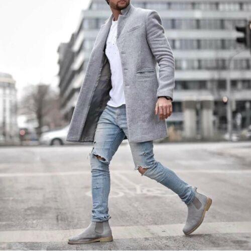 Herren Blazer Mantel Winter Warm Trenchcoat Outwearlinie Lang Arm Freizeit Jacke