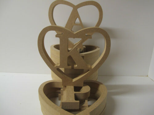 """HEART /""""LETTERS IN HEART/"""" Free Standing 18mm thick A-Z Available"""