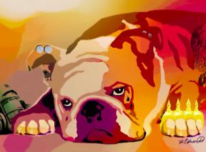 """NEW Fine Art Dog BULLDOG print TATTOO 8""""x10"""" PIERCING brass knuckle ZA110"""
