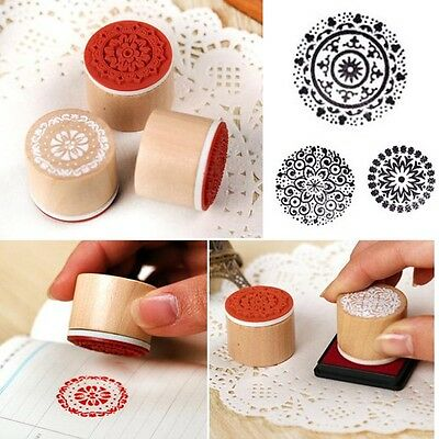 Assorted Retro Vintage Floral Pattern Round Wooden Rubber Stamp Scrapbook New
