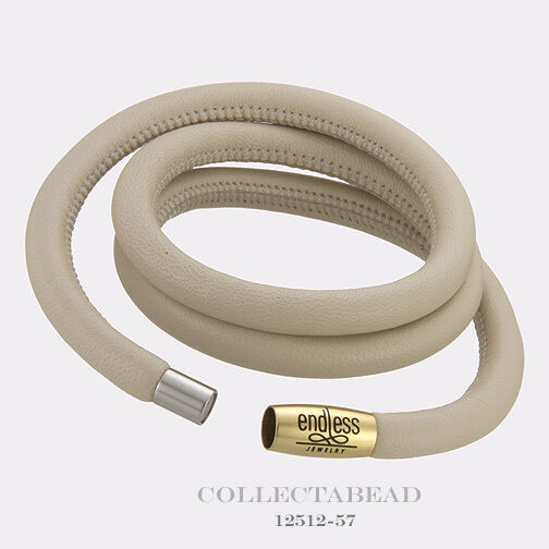 Authentic Endless gold Plated Nude Triple Leather Bracelet 7.5  12512-57