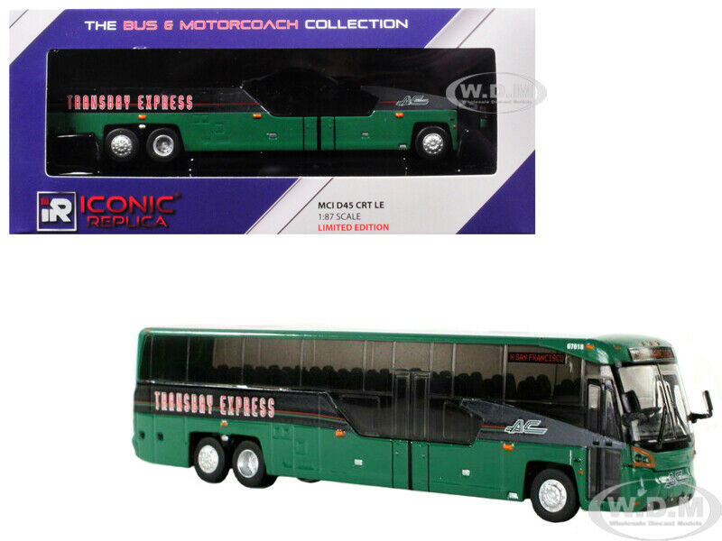 MCI D45 CRT LE BUS BUS BUS  TRANSBAY EXPRESS  GREEN 1 87 DIECAST ICONIC REPLICAS 87-0099 b099e5