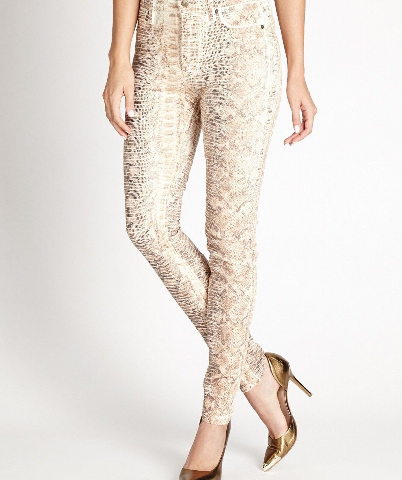 GUESS Women's High-Rise Power Skinny Jeans - Milk Snake Foil Wash sz 29