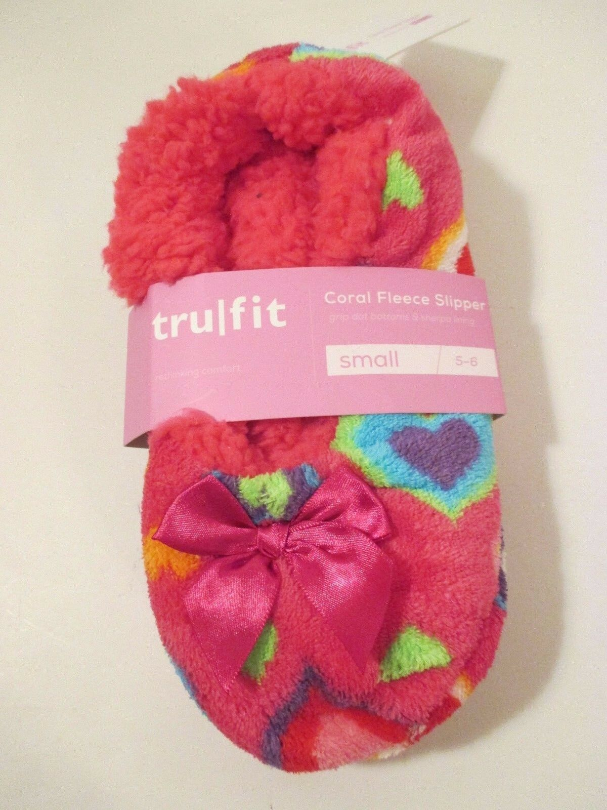 TRUFIT Pink Rainbow Heart Sherpa Non Skid Indoor Slippers Socks-Shoe Size S 5-6
