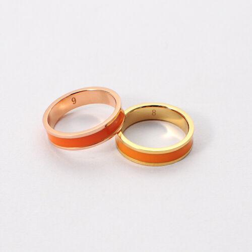 Mandarin Orange Enamel Rose Gold Ring Band US Standard Sizes 5 6 7 8 9
