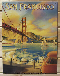 Golden Gate Bridge TIN SIGN Vtg Travel Art Poster Wall Decor 1266