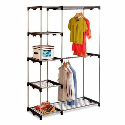 WHITMOR DOUBLE ROD FREE STANDING CLOSET WARDROBE ORGANIZER BARS SHELVES  CLOTHING
